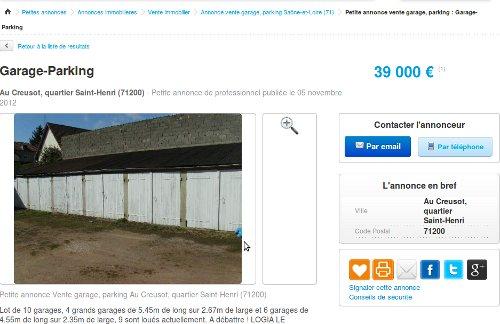 10 parking garages vendre mon offre refus e. Black Bedroom Furniture Sets. Home Design Ideas