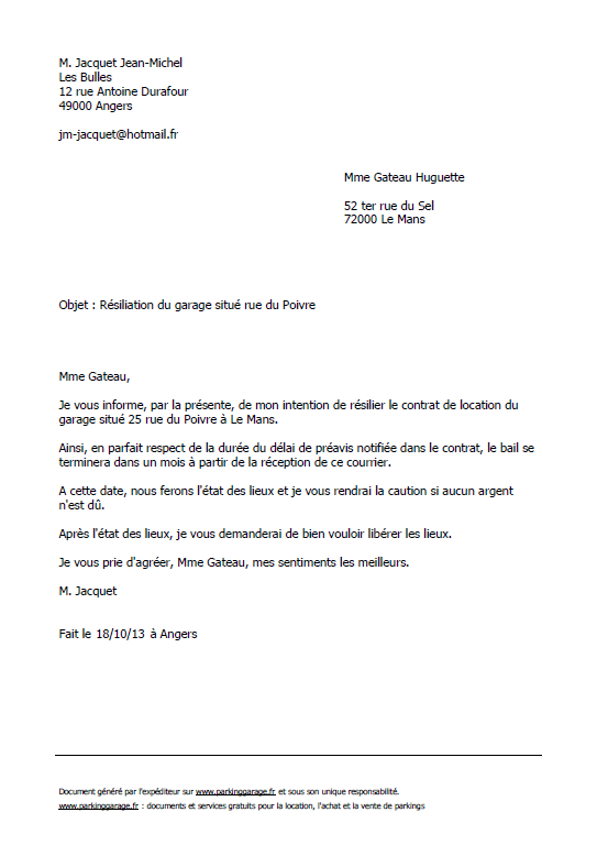 Lettre type gratuite de r siliation d 39 un bail de parking garage ou box - Comment recuperer une caution ...
