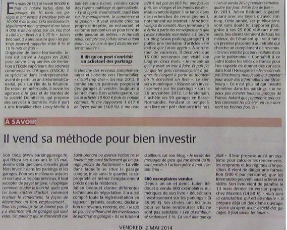 """Article """"il vend sa méthode pour bien investir"""""""