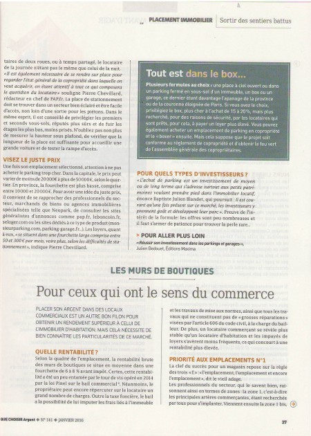 "Suite article ""investir avec discernement"""