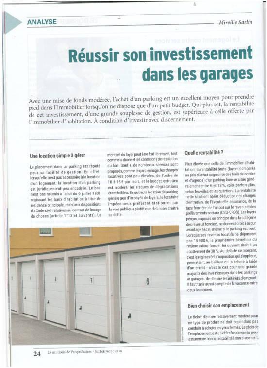 """Article """"réussir son investissement dans les garages"""""""